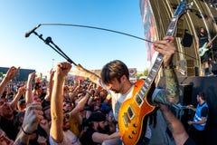 Telkens als ik metalcore muziekband sterf presteer in overleg bij de muziekfestival van het Download zware metaal stock afbeeldingen