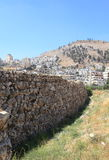 Tell Balata Archaeological Site, Shechem. View of the Tell Balata archaeological site with the remains of the wall of the ancient Canaanite Israelite village Royalty Free Stock Photo