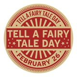 Tell a Fairy Tale Day rubber stamp vector illustration