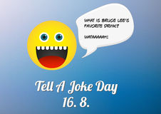 Tell a joke day poster (16. 8. annual celebration). With emoticon telling a joke about Bruce Lee Stock Images
