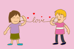 Tell love by cup telephone. I love you ,tell love by cup telephone Royalty Free Stock Photo