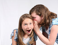 Tell Me a Secret. 2 young girls telling secrets Stock Photos