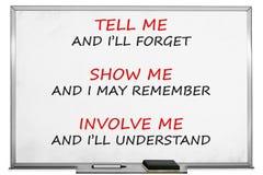 Tell me, show me, involve me, whiteboard.  Royalty Free Stock Photo
