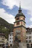 Tell monument in Altdorf. Wilhelm Tell monument in the square of the cantonal capital of Altdorf in the Canton of Uri Royalty Free Stock Photography