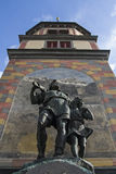 Tell monument in Altdorf. William Tell monument in the square of the cantonal capital of Altdorf in the Canton of Uri Stock Photo