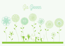 Tell The Secret Go Green_eps. Illustration of green theme, flowers with dog and cat Stock Image