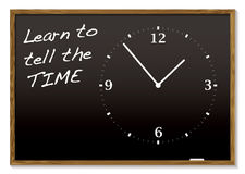 Tell the time blackboard royalty free illustration
