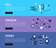 Tell Unique Story. Web banners  set. Flat line web banners of content marketing. Line megaphone, firework and story road for websites and marketing materials Royalty Free Stock Image
