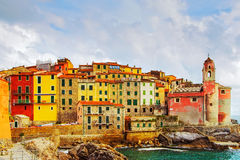 Tellaro rocks and village on the sea. Cinque terre, Ligury Italy Royalty Free Stock Images