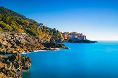 Tellaro rocks and village on the sea. Cinque terre, Ligury Italy Royalty Free Stock Photos