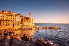 Tellaro rocks and village on the sea. Cinque terre, Ligury Italy Royalty Free Stock Photography