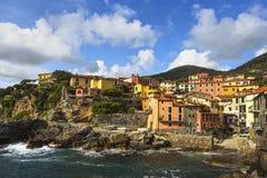 Tellaro rocks and village on the sea. Cinque terre, Ligury Italy Stock Image