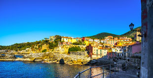 Tellaro sea village seafront or promenade. Cinque terre, Ligury Stock Photos