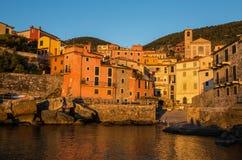 Tellaro at sunset, near Lerici, La Soezia, Liguria, Italy, Europe stock image