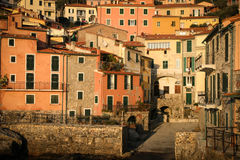 Tellaro village at sunset. The beautiful village of Tellaro, Italy, near Cinque Terre with the tipical colourful houses of Liguria Royalty Free Stock Photography