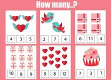 Tellend onderwijskinderenspel, het aantekenvel van de jonge geitjesactiviteit Hoeveel voorwerpen Het leren wiskunde St Valentine  royalty-vrije illustratie