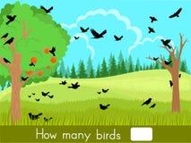 Tellend spel Hoeveel vogels Stock Fotografie