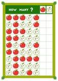 Tellend spel, onderwijsspel voor kinderen Tel hoeveel Appelen in elke rij royalty-vrije illustratie