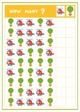 Tellend spel, onderwijsspel voor kinderen Tel hoeveel Ballons en Helikopters in elke rij vector illustratie