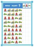 Tellend spel, onderwijsspel voor kinderen Tel hoeveel bestelwagens, spaceships en treinen in elke rij stock illustratie