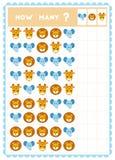 Tellend spel, onderwijsspel voor kinderen Tel hoeveel dieren in elke rij stock illustratie