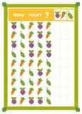 Tellend spel, onderwijsspel voor kinderen Tel hoeveel groenten in elke rij stock illustratie