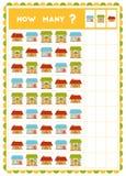 Tellend spel, onderwijsspel voor kinderen Tel hoeveel Huizen in elke rij stock illustratie