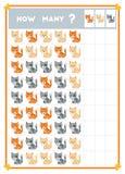 Tellend spel, onderwijsspel voor kinderen Tel hoeveel katten in elke rij stock illustratie