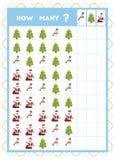 Tellend spel, onderwijsspel voor kinderen Tel hoeveel Kerstmispunten in elke rij vector illustratie