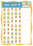 Tellend spel, onderwijsspel voor kinderen Tel hoeveel klokken in elke rij vector illustratie