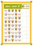 Tellend spel, onderwijsspel voor kinderen Tel hoeveel landbouwbedrijfdieren in elke rij en het resultaat schrijf vector illustratie