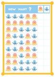 Tellend spel, onderwijsspel voor kinderen Tel hoeveel overzeese dieren in elke rij royalty-vrije illustratie