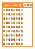 Tellend spel, onderwijsspel voor kinderen Tel hoeveel paaseieren in elke rij stock illustratie