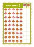 Tellend spel, onderwijsspel voor kinderen Tel hoeveel Paddestoelen in elke rij vector illustratie
