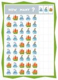 Tellend spel, onderwijsspel voor kinderen Tel hoeveel schepen in elke rij royalty-vrije illustratie