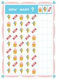 Tellend spel, onderwijsspel voor kinderen Tel hoeveel snoepjes in elke rij vector illustratie