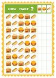 Tellend spel, onderwijsspel voor kinderen Tel hoeveel types van voedsel in elke rij royalty-vrije illustratie