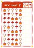Tellend spel, onderwijsspel voor kinderen Tel hoeveel voorwerpen in elke rij royalty-vrije illustratie