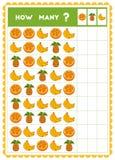 Tellend spel, onderwijsspel voor kinderen Tel hoeveel vruchten in elke rij stock illustratie