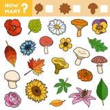 Tellend Spel voor Kinderen Onderwijs een wiskundig spel Tel hoeveel doorbladeren, als paddestoelen uit de grond schieten, bloeien vector illustratie