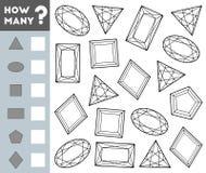 Tellend Spel voor Kinderen Onderwijs een wiskundig spel Tel hoeveel halfedelstenen en het resultaat schrijf royalty-vrije illustratie