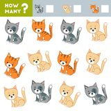 Tellend Spel voor Kinderen Onderwijs een wiskundig spel Tel hoeveel katten en het resultaat schrijf royalty-vrije illustratie