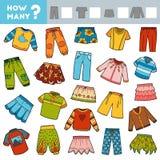 Tellend Spel voor Kinderen Onderwijs een wiskundig spel Tel hoeveel rokken, broeken, verbindingsdraden, T-shirts en schrijf stock illustratie