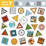 Tellend Spel voor Kinderen Onderwijs een wiskundig spel Tel hoeveel ronde, vierkante en driehoekige voorwerpen en schrijf stock illustratie