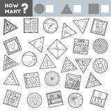 Tellend Spel voor Kinderen Onderwijs een wiskundig spel Tel hoeveel ronde, vierkante en driehoekige voorwerpen en schrijf vector illustratie