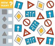 Tellend Spel voor Kinderen Onderwijs een wiskundig spel Tel hoeveel Verkeersteken en het resultaat schrijf royalty-vrije illustratie