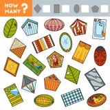 Tellend Spel voor Kinderen Onderwijs een wiskundig spel Tel hoeveel voorwerpen van verschillende vormen en het resultaat schrijf stock illustratie