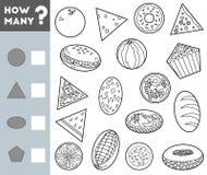 Tellend Spel voor Kinderen Onderwijs een wiskundig spel Tel hoeveel voorwerpen van verschillende vormen en het resultaat schrijf vector illustratie