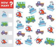 Tellend Spel voor Kinderen Telling hoeveel voorwerpen vervoeren royalty-vrije illustratie