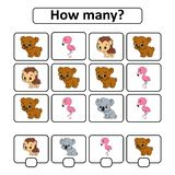 Tellend spel voor kinderen van peuterleeftijd Het leren wiskunde Hoeveel dieren in het beeld Met ruimte voor antwoorden eenvoudig vector illustratie